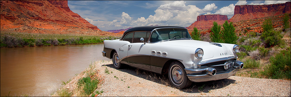 classic buick in canyon panoramic