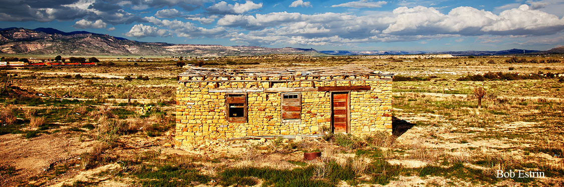Abandoned stone building panoramic
