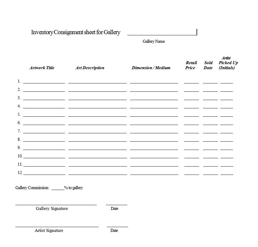 Some Examples Of Gallery Contracts, Consignment Sheet And Checklist:  Consignment Contracts Template